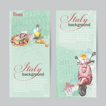 Conjunto de banners verticais da itália. cidades de roma e pisa com a imagem de uma motocicleta rosa, pizza, queijo e latas de óleo