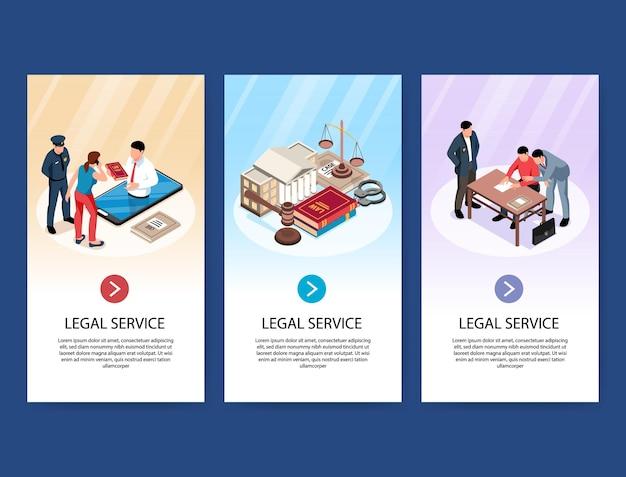 Conjunto de banners verticais de advogado isométrico