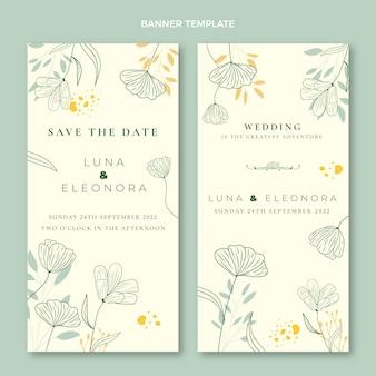 Conjunto de banners verticais de casamento desenhados à mão