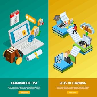 Conjunto de banners verticais de e-learning
