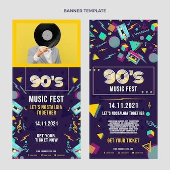Conjunto de banners verticais de festival de música nostálgico dos anos 90