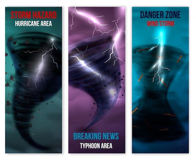 Conjunto de banners verticais de furacão