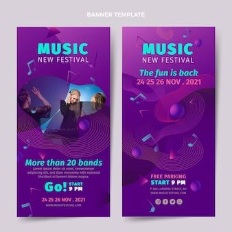 Conjunto de banners verticais de gradiente colorido para festival de música