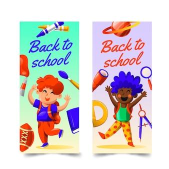 Conjunto de banners verticais de gradiente de volta à escola