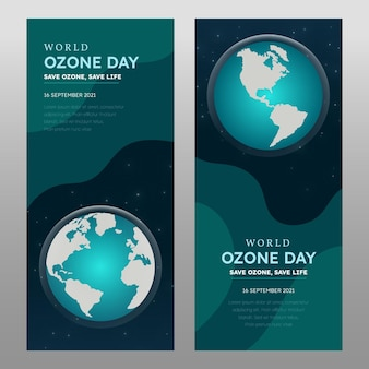 Conjunto de banners verticais de gradiente do dia mundial do ozônio