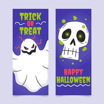 Conjunto de banners verticais de halloween desenhados à mão