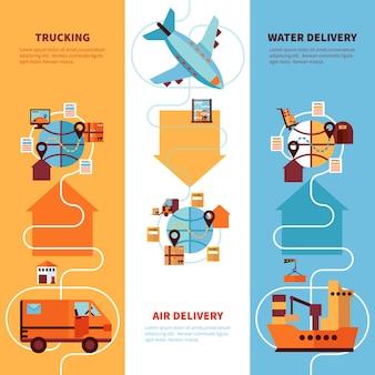 Conjunto de banners verticais de logística