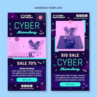Conjunto de banners verticais de segunda-feira cibernética plana