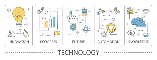Conjunto de banners verticais de tecnologia