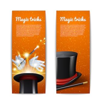 Conjunto de banners verticais de truque mágico