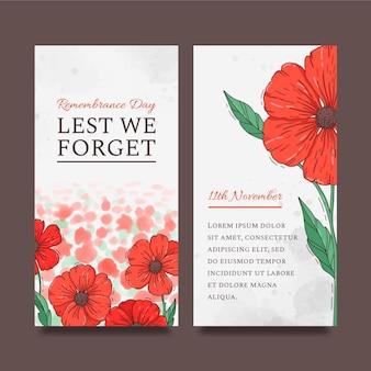 Conjunto de banners verticais desenhados à mão para o dia da lembrança