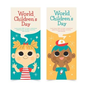 Conjunto de banners verticais desenhados à mão para o dia mundial das crianças
