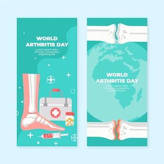 Conjunto de banners verticais do dia da artrite do mundo plano desenhado à mão