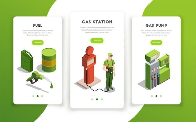 Conjunto de banners verticais para postos de gasolina com botões de mudança de página, texto editável e imagens coloridas