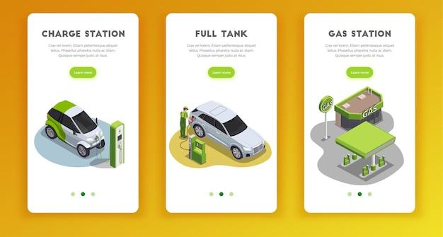 Conjunto de banners verticais para postos de gasolina com texto e imagens clicáveis para aprender mais