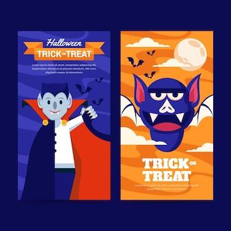 Conjunto de banners verticais planos de halloween