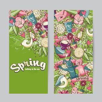 Conjunto de banners verticais sobre o tema primavera
