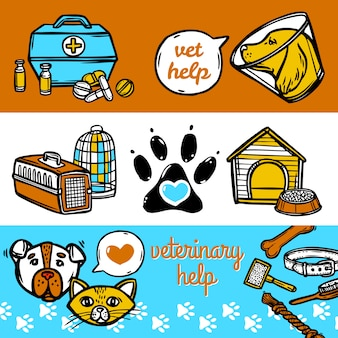 Conjunto de banners veterinários