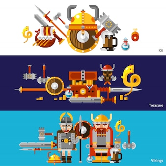 Conjunto de banners viking