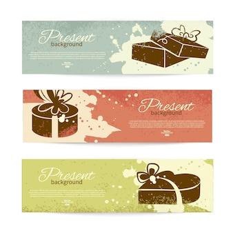 Conjunto de banners vintage com fundo presente com caixa de presente. ilustração vetorial com design splash