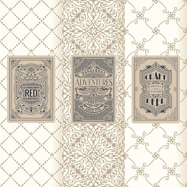 Conjunto de banners vintage de rótulos verticais, design de molduras de embalagens