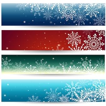 Conjunto de banners web com flocos de neve. ilustração