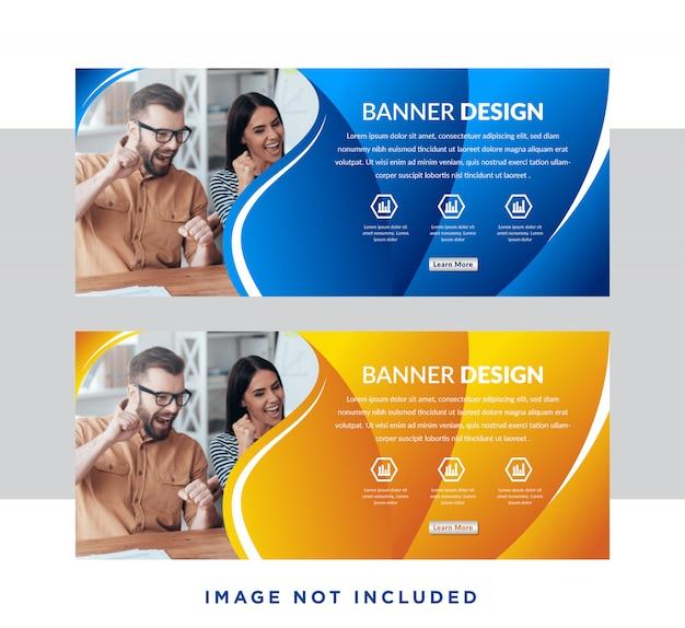 Conjunto de banners web horizontal gradiente azul e amarelo com lugar para foto.