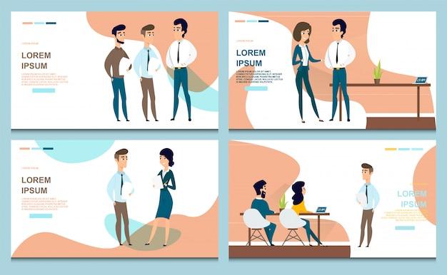 Conjunto de banners web negócios vetor de desenhos animados