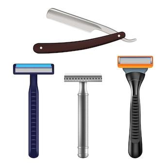 Conjunto de barbear, ilustração realista