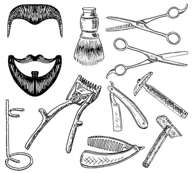 Conjunto de barbearia estilo mão desenhada