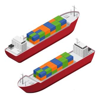 Conjunto de barcaça com vista isométrica de contêineres de frete em cores
