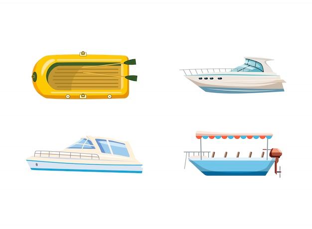 Conjunto de barco. caricatura, jogo, de, bote