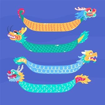 Conjunto de barco dragão mão desenhada