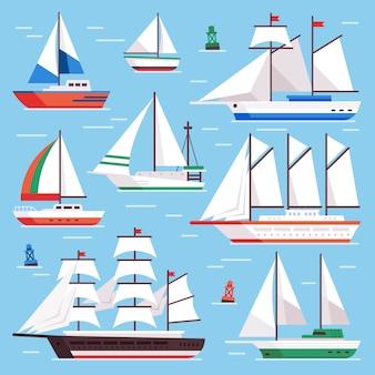 Conjunto de barcos a vela