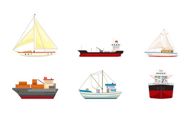 Conjunto de barcos. caricatura, jogo, de, navio