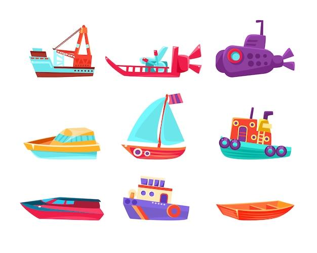 Conjunto de barcos de brinquedo de transporte de água