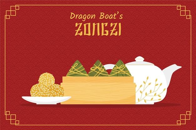 Conjunto de barcos de dragão zongzi