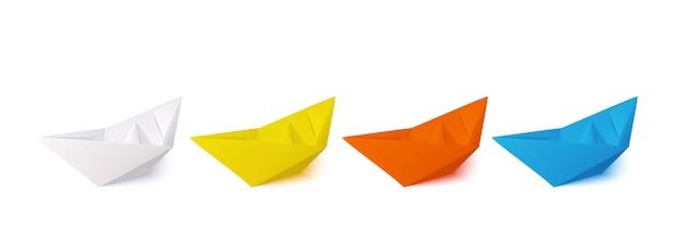 Conjunto de barcos de papel