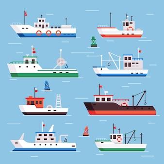 Conjunto de barcos de pesca plana