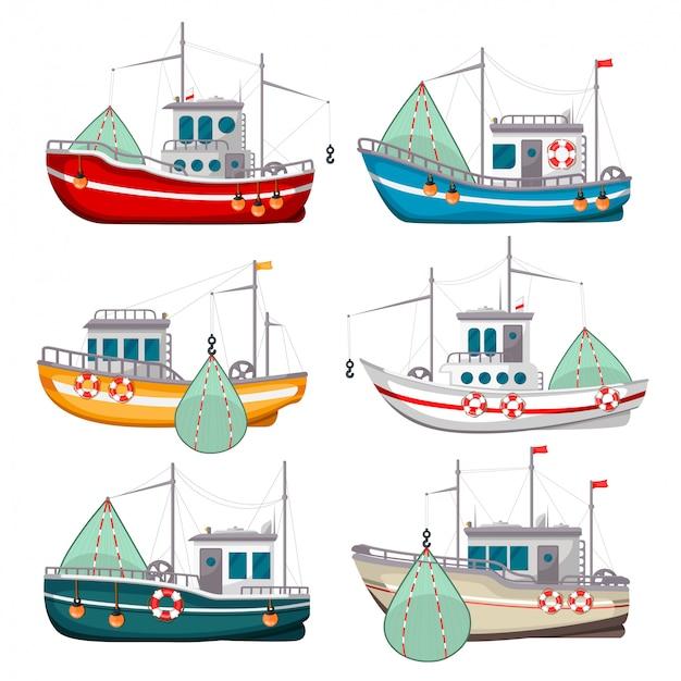 Conjunto de barcos de pesca