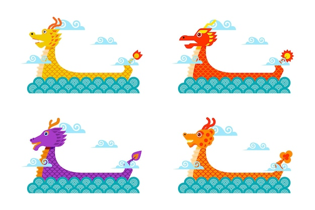 Conjunto de barcos-dragão