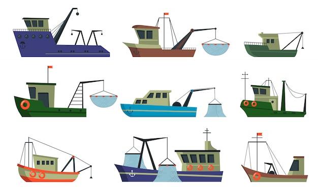 Conjunto de barcos e arrastões de pescadores