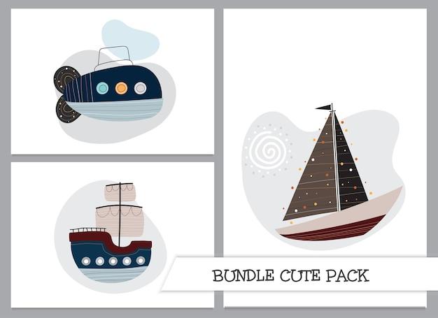 Conjunto de barcos e navios planos de desenhos animados