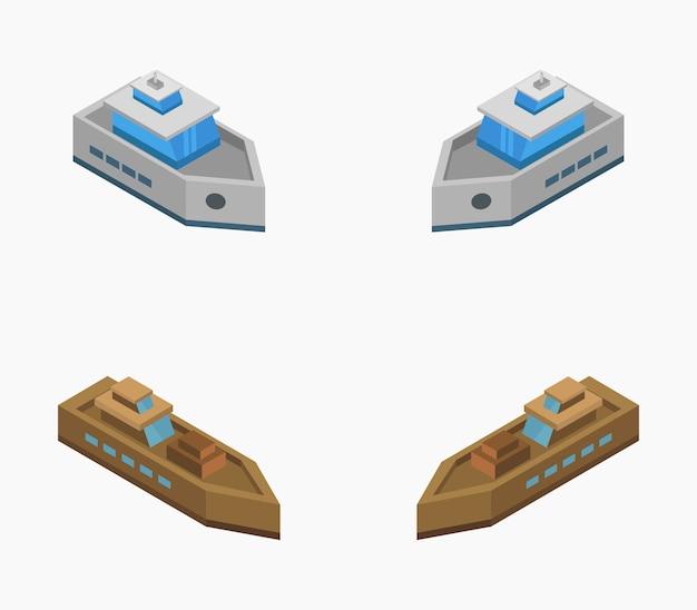 Conjunto de barcos isométricos