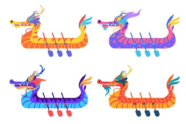Conjunto de barcos para evento tradicional chinês