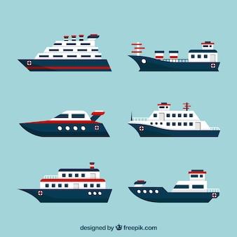 Conjunto de barcos planos com elementos vermelhos