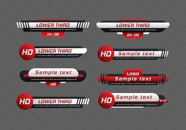 Conjunto de barra de notícias de tv. terceiro menor conjunto de barras de notícias de tv. faixa de título de mídia de transmissão de televisão. títulos de textos explicativos digitais.
