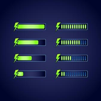 Conjunto de barra de progresso de energia de rpg de fantasia gui para jogos 2d