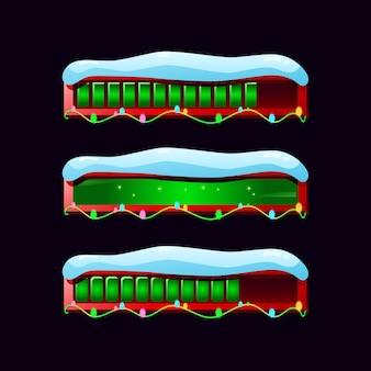 Conjunto de barra de progresso de gui com neve em vários estilos