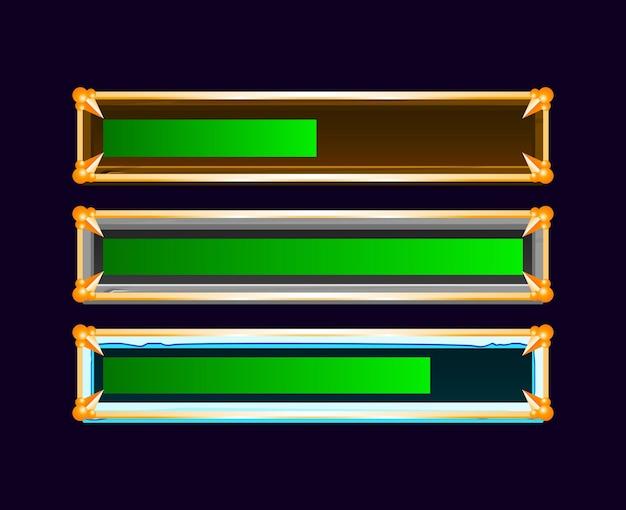 Conjunto de barra de progresso de gui de madeira, pedra e gelo com borda dourada para elementos de recursos de interface do usuário do jogo